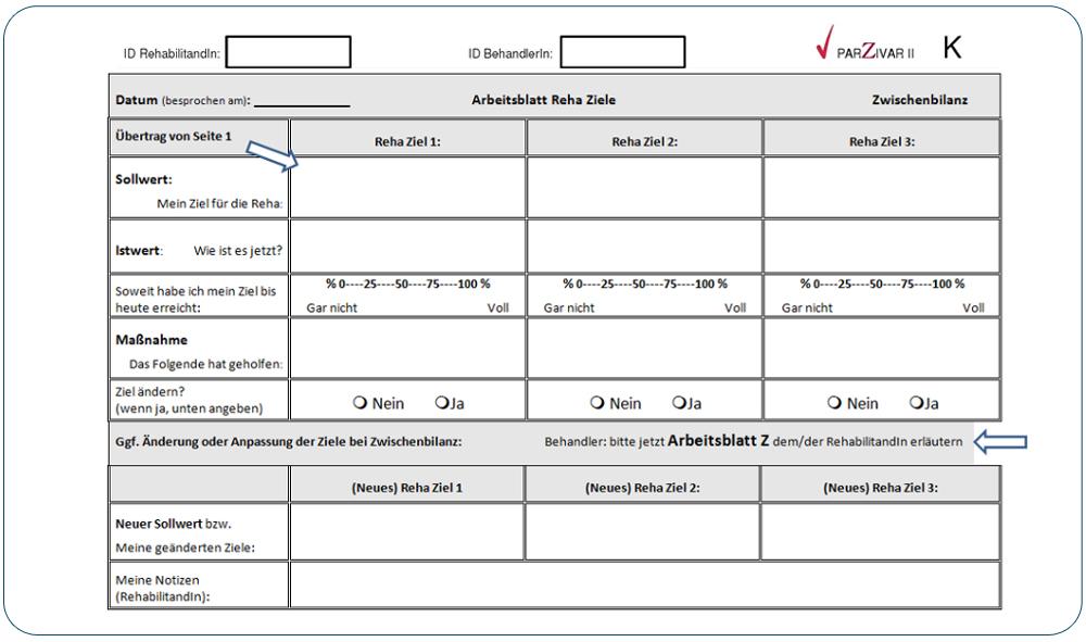 Arbeitsblatt zur Zwischenbilanzierung | Arbeitsbuch Reha-Ziele