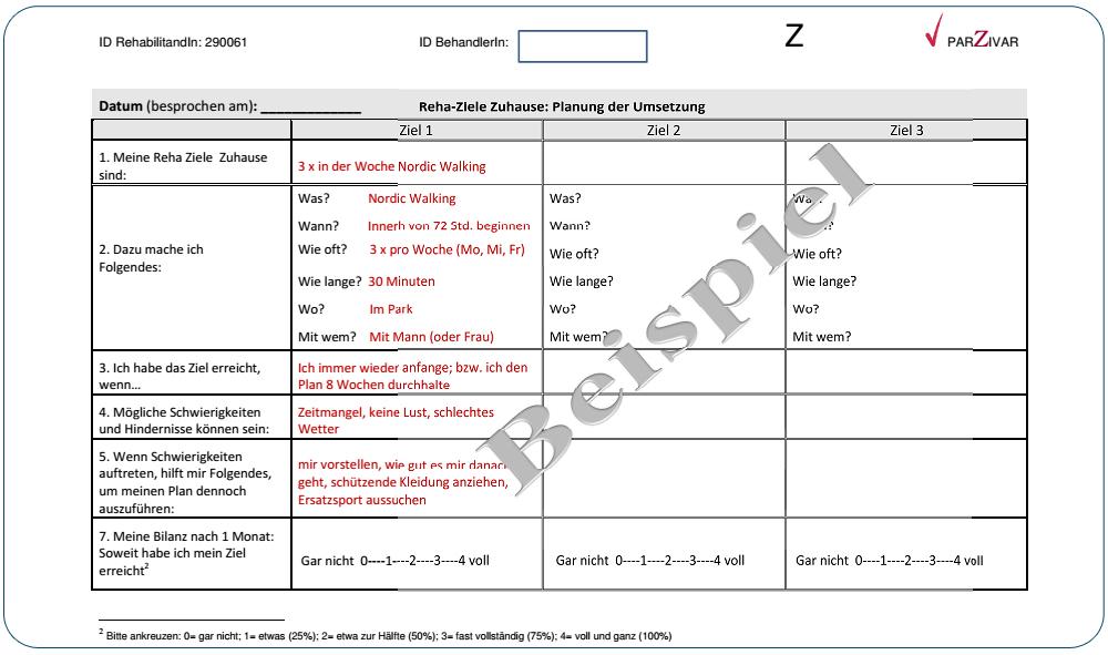Arbeitsblatt zur Umsetzungsplanung | Arbeitsbuch Reha-Ziele