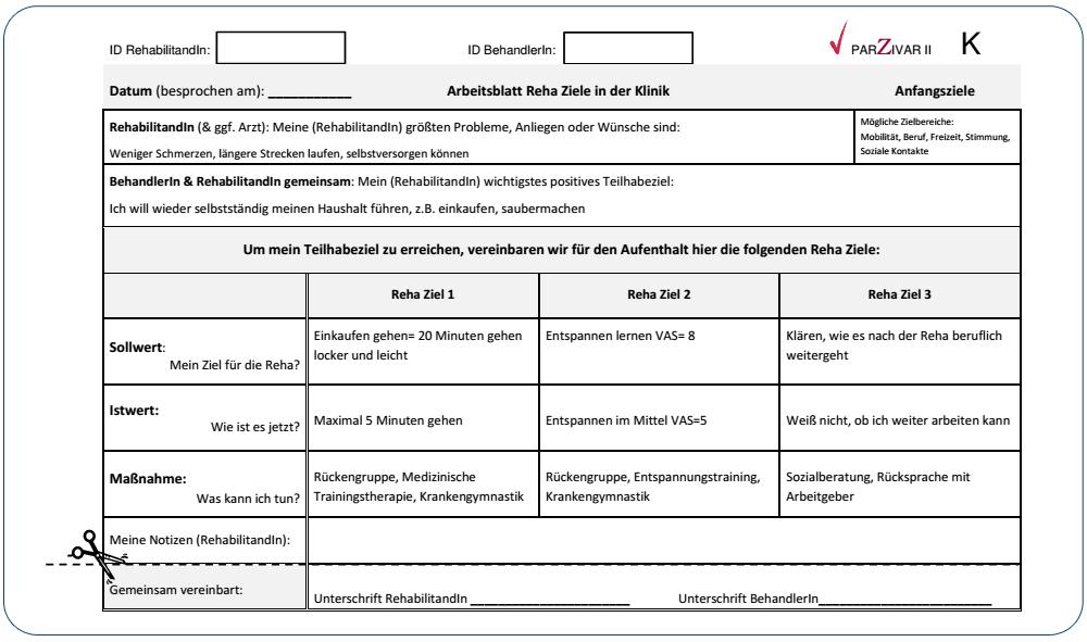 Arbeitsblatt für die gemeinsame Vereinbarung von Reha-Zielen zu Reha ...